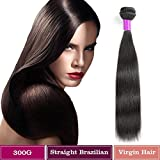 Cheveux Virtuels Brésiliens Straight Bundles 100% Cheveux Humains Non Traités Straight 100% Extensions réelles de cheveux humains Couleur Noir Naturel(1pack, 8 inch)...