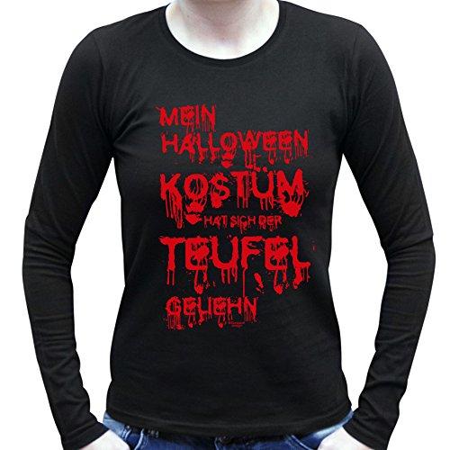 Für Lustige Frauen Halloween Kostüme (Mein Halloween Kostüm hat sich der Teufel geliehn ::: Lustiges Kostüm-Langarm-T-Shirt für Damen und Mädchen Party-Outfit-Bekleidung Farbe: schwarz Gr:)