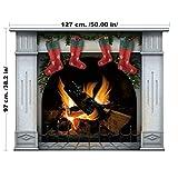 lepni.me Weihnachten Wandaufkleber - Kamin mit Weihnachtsschmuck und Dekorationen - Kranz und Strümpfe bereit für den Weihnachtsmann (Groß, Blau)