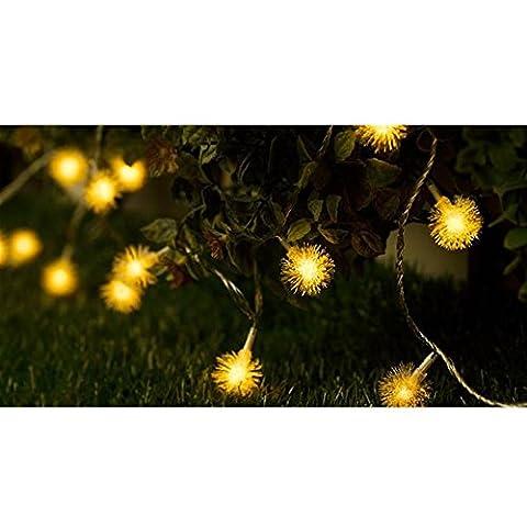 Sunfish Wasserdichte LED-Lichterketten Urlaub Lichter Weihnachtsbeleuchtung Indoor / Outdoor-dekorative Leuchten 10 Meter 100er snow Ball [6 Watt Energieklasse A +++] (gelb)
