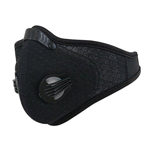 JameStyle26 - Maschera protettiva antipolvere ai carboni attivi, per ciclismo, moto, sport invernali, sci, jogging, Nero