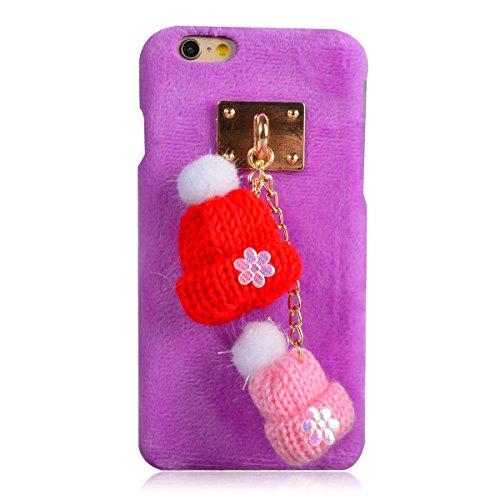Coque iPhone 7 Plus, Lifetrut [Absorption des chocs] Marron Fluffy Peluche ours en peluche Snap Hard Case Retour Housse Furry pour iPhone 7 Plus [Ours en peluche] E206-Casquettes en laine