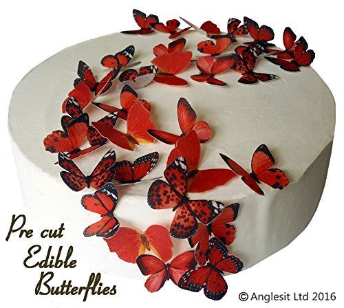 (48 x Vorgeschnittene schöne rote Schmetterlinge essbares Reispapier/Oblatenpapier Kuchendekoration, Dekoration für Cupcake Kuchen Dessert, für Geburtstag Party Hochzeit Babyparty Valentinstag Halloween (S))