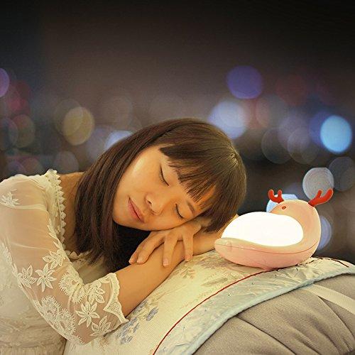 Abester LED Nachtlicht für Kinder Stimmungslicht Nachtlampe Warmweiß mit 7 Farbwechse mit Berührungssensor (Elche)