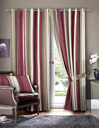 Red Curtains amazon red curtains : Just Contempo Striped Eyelet Lined Curtains, Red, 46x90 inches ...
