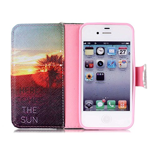 iPhone 4S Pouce Coque Etui PU Leather Case Wallet Cover Flip Coque pour iPhone 4,iPhone 4S Coque Cuir,iPhone 4S Coque Portefeuille Cuir Housse,EMAXELERS iPhone 4S Coque Cristal,iPhone 4S Coque Cute,iP B Tower 7
