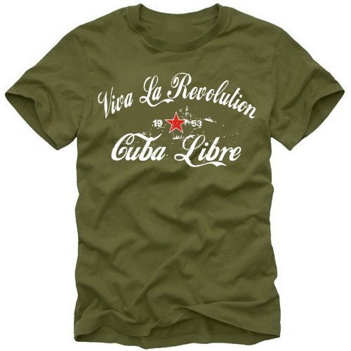 coole-fun-t-shirts Herren t-shirt Viva La Revolution KUBA LIBRE VINTAGE  oliv  GR.XL (Vintage Coole Shirts)