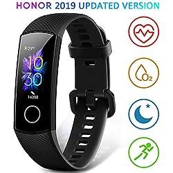 HONOR Band 5 Montre Connectée Bracelet Connecté Podometre Cardio Homme Femme Enfant Smart Watch Android iOS Etanche IP68 Smartwatch Sport Running Sommeil Calorie, Noir