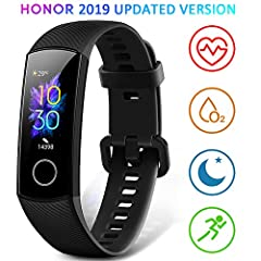Idea Regalo - HONOR Band 5 Smartwatch Orologio Fitness Tracker Uomo Donna Smart Watch Cardiofrequenzimetro da Polso Contapassi Smartband Sportivo Activity Tracker,Nero