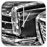 Monocrome, Wunderschöne Mercedes Oldtimer, Wanduhr Durchmesser 28cm mit schwarzen spitzen Zeigern und Ziffernblatt, Dekoartikel, Designuhr, Aluverbund sehr schön für Wohnzimmer, Kinderzimmer, Arbeitszimmer