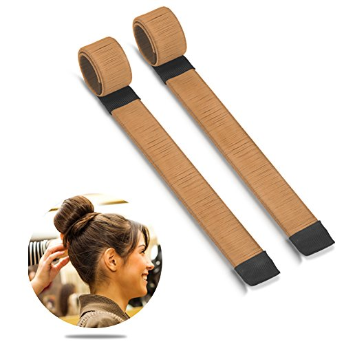 Bestidy 2pcs donne capelli parrucca hairdisk creatore del panino french twist hair - donut hair bun maker styling diy strumento (tan)
