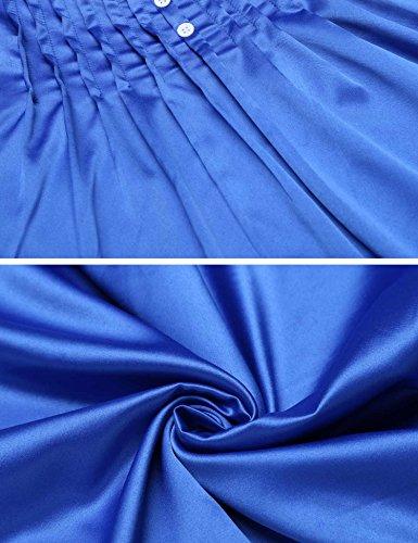Ekouaer Damen Schlanfanzug baumwolle Shorty Rundals Pyjama Set Satin träger Nachtwäsche Zweiteiliger top Nachthemd Kurz Sexy Sommer Schwarz/Grau/Blau stil 2:Blau