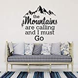 guijiumai The Mountains Are Calling Quotes Pegatinas de Pared Cadena de montaña y Cedro Decoración para el hogar Sala de Estar Vinilo Removible Tatuajes de Pared Blanco S 60 x 60 cm