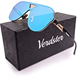 Verdster Trendige Piloten-Sonnenbrille für Herren - Spezielle TourDePro Gläser - Zubehöretui - UV400 Schutz - Übergroße Sonnenbrille- Ideal für Städtetouren (Blau)