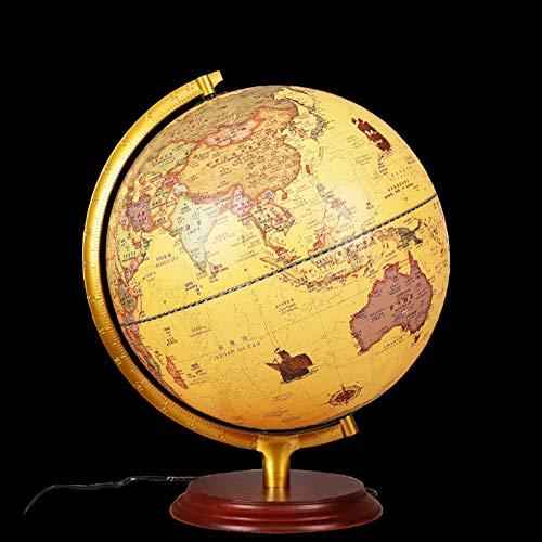 Weinlese-Antike globus beleuchtet Dekorative eingebaute LED für beleuchtete Nachtsicht Antique Globe Lampe für Kinderhausdekoration und Office Desktop, 32cm,Europäischen Stil -