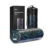 BHY Faszienrolle, Sport Foam Roller Fitness Schaumstoffrolle für Yogaübungen und Physiotherapie, Massagerolle zur Selbstmassage mit Tragetasche beim Faszientraining, Schwarz/Blau