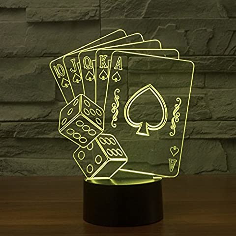 3D Illusion Lamp jawell Night Light Poker Dice 7Changing Colors Touch USB Table Nice Gift Toys Decorations
