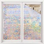 Volcanics Window Privacy Film Static Window Clings Vinyl 3D Window Decals Window Stickers Rainbow Window Film
