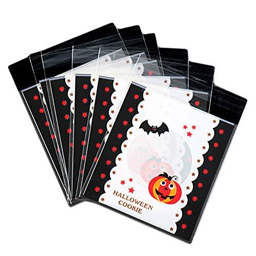 Vikenner Halloween Geschenkbeutel mit 100er Kürbis VerTaschesbeutel,Plastiktüte Klein für Hochzeit Party Süßigkeitstasche und Backen Kekse-B