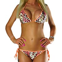 ALZORA Neckholder Damen Bikini Set Top und Hose orange leopard , 10186