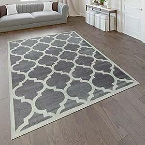paco home designer teppich marokkanisches muster kurzflorteppich modern trend grau wei. Black Bedroom Furniture Sets. Home Design Ideas