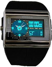 Rawdah OHSEN Digital LED Fecha de goma de deporte impermeable Mens Boy reloj de pulsera (negro)