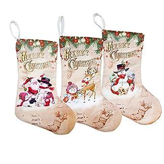 XONOR 3 Piezas tamaño Grande Calcetines de Navidad, 18 Pulgadas 3D de Felpa Lindo Papá Noel muñeco de Nieve Reno Calcetines decoración con Lazos para Colgar