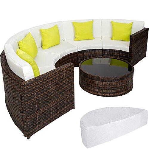 Tectake set di mobili alluminio poli rattan arredamento giardino tavolo divano semicerchio incl. cuscino e involucro protettivo - disponibile in diversi colori - (marrone misto | no. 402035)