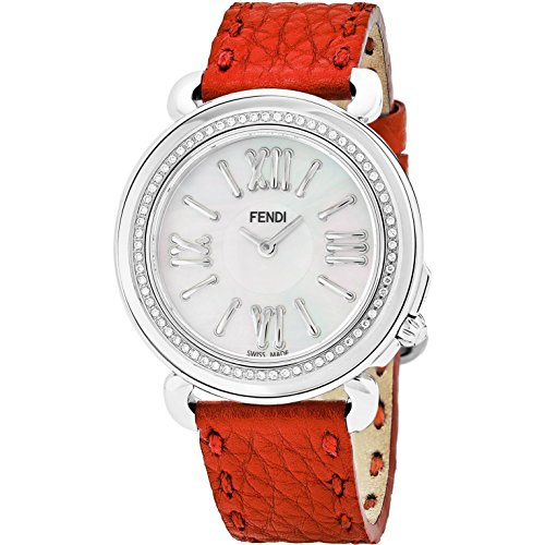 Fendi Women's Selleria Diamond 37mm Red Swiss Quartz Watch F8010345H0C0NB7