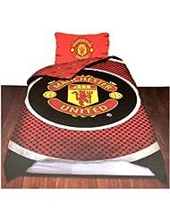 Manchester United FC - Parure de lit simple réversible (Lit simple) (Rouge/Noir)