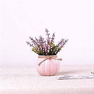 Mesmj Bouquet de Flores Artificiales Acacia Frijoles Jarrón de cerámica,Rosa