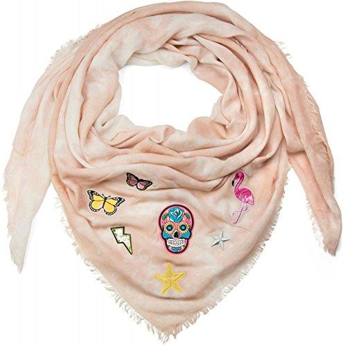 styleBREAKER pañuelo cuadrado XXL en óptica batik vintage con parches de calavera, flamenco, estrella, mariposa, lentejuelas, chal, pañuelo, señora 01016143, color:Rosa palo
