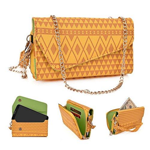 Kroo Pochette/étui style tribal urbain pour ZTE Grand X Max + Multicolore - White and Orange Multicolore - jaune