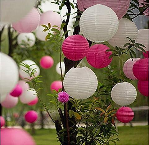 EQLEF® 10 morceaux de 8 pouces papier décoratif Lanternes pour le mariage anniversaire Garden- Blanc et rose
