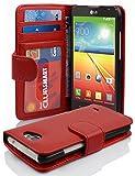 Cadorabo Hülle für LG L90 - Hülle in INFERNO ROT – Handyhülle mit 3 Kartenfächern - Case Cover Schutzhülle Etui Tasche Book Klapp Style