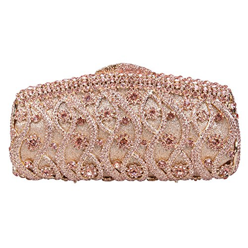 Bonjanvye Bling Twisted Studded Pattern Purses Clutches and Evening Bags for Women Black Rose gold