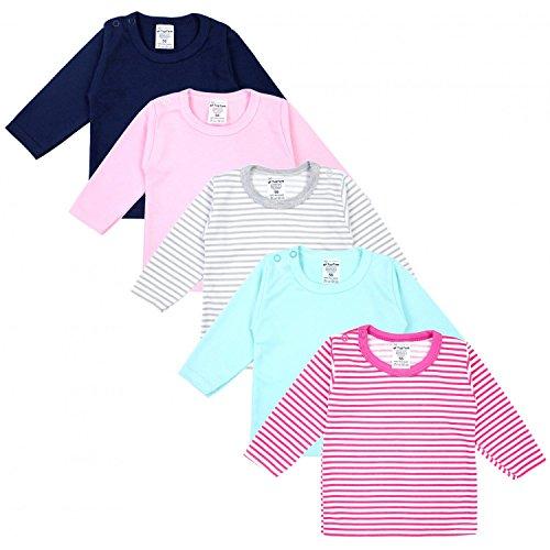 TupTam Baby Mädchen Langarmshirt Gestreift 5er Set, Farbe: Farbenmix 1, Größe: 74 (Passende Shirts Für Mädchen)