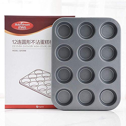 bakerdream Antihaft-Muffinblech für 12Muffins Carbon Stahl Muffin Backen Form Bakeware Cupcake Pfanne Backen Werkzeug 12-Cup Muffin Pan siehe Abbildung 12 Cup Muffin Pan