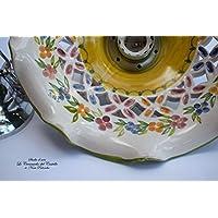 Lampadario Traforato diametro 25 centimetri Linea Fiori Misti Bordo Verde Ceramica Le Ceramiche del Castello Pezzo Unico Handmade Made in Italy