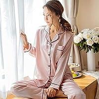 SeniorMar Mode-koreanische Art-Nachahmung Seide-Frauen-Pyjamas stellten weiche Nachtwäsche glattes langes Hülsen-Homewear Homie Nightwear EIN