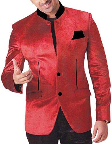 Velvet Smoking-hose (INMONARCH Mens Red Velvet 3 pc Tuxedo, Spezielle TX763XL34 44 Extralang or XS (Höhe 190 cm + Oben) Rot)