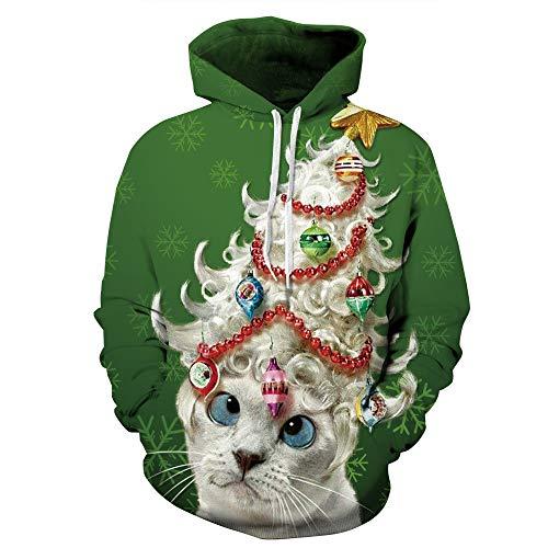 SEWORLD Frohe Weihnachten Kapuzenpulli Damen Mode Frauen Frohe Weihnachten Unisex Paare 3D Weihnachten Katze Gedruckt Hoodies Bluse Tops Shirt(X1-Grün,EU-46/CN-L/XL)