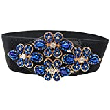 China Palaeowind Women's Inlaid Crystal Girdle Snaps Decoration Ms Leather Belt Korean Version Wild Elastic Girdle 60-80CM
