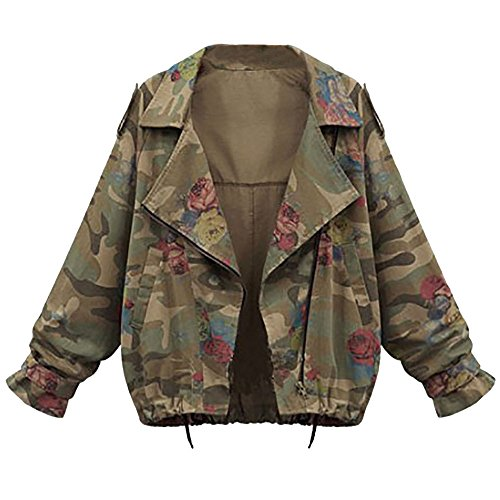 VEMOW Herbst Damen Frauen Plus Größe Lose Flügelhülse Camouflage Lässige Tägliche Lose Mantel Tops Jacke Outwear(Tarnung, EU-40/CN-L)