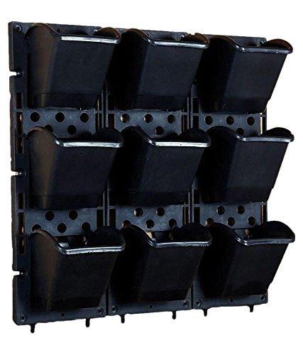 Siva Homes & Naturals Vertical Garden Bio Wall Hanging Planter Black Color(3 Frame + 9 Pots) (Black)