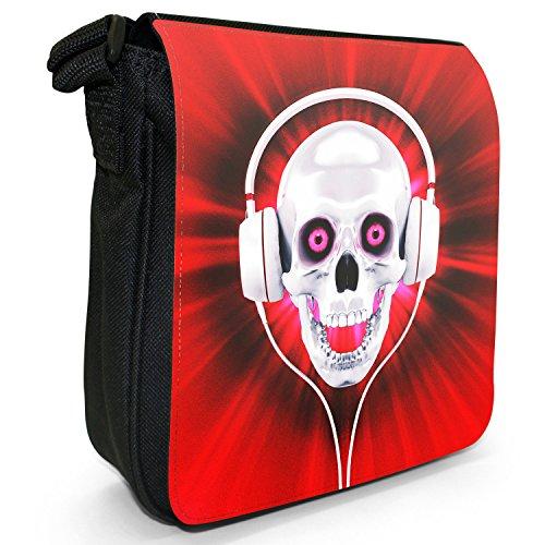 Con teschio con cuffie, colore: nero, Borsa a tracolla in tela, taglia: S Nero (Red Skull With Headphones)