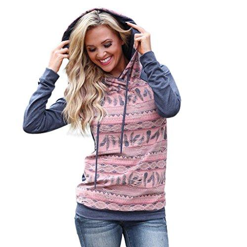 OVERDOSE Mokingtop Damen Floral Splice Printing Rundhals Pullover Bluse Tops T-Shirt (S, Y-Hoodies-4) (Sleeve Tee Short Bestickt)