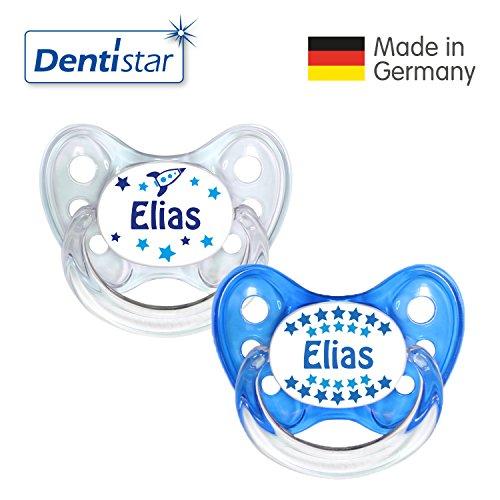 Dentistar® Silikon Schnuller 2er Set inkl. 2 Schutzkappen - Nuckel Größe 1 von Geburt an, 0-6 Monate - zahnfreundlich und kiefergerecht | Elias