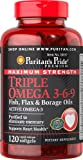 Puritan's Pride Maximum Strength Triple Omega 3-6-9 Fish, Flax & Borage Oils 120 Softgels 10157