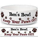 Ben 's Schüssel–Keep Your Paws Off. Personalisiert Name Keramik Pet Futternapf–2Größen erhältlich